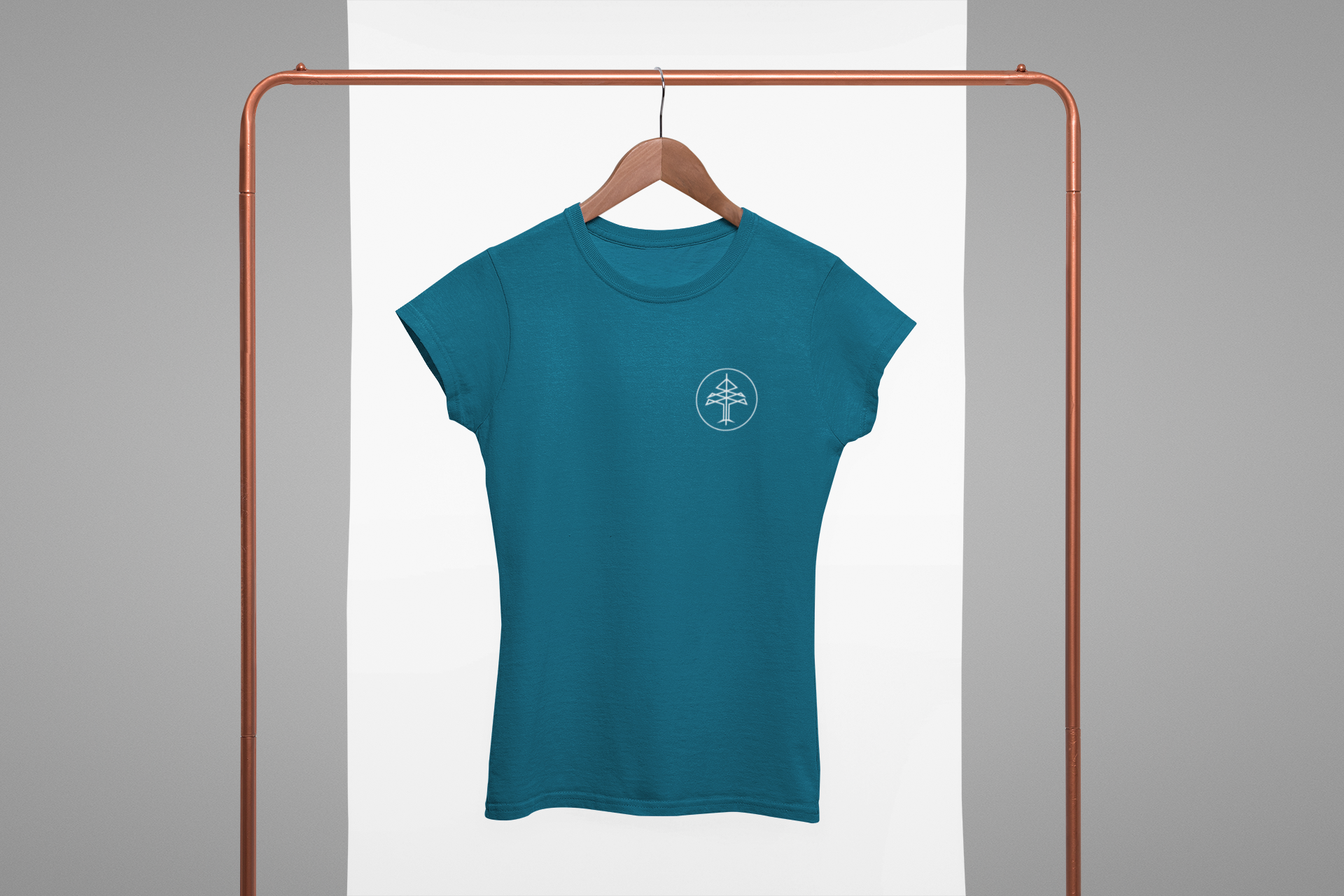 Mockup of a women s crewneck tee hanging from a rack 27004