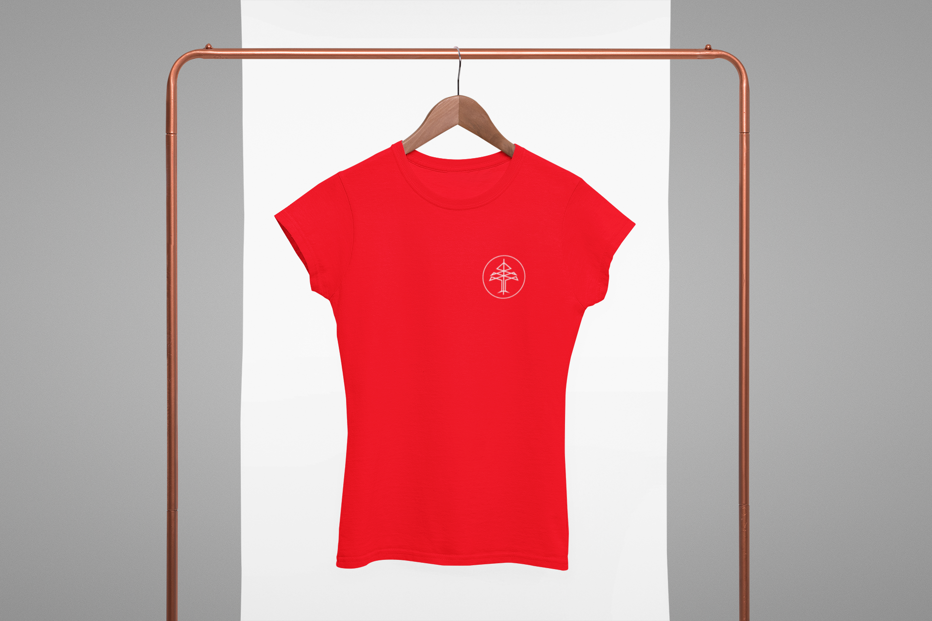 Mockup of a women s crewneck tee hanging from a rack 27004 %281%29